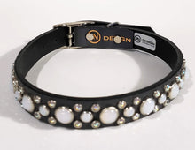 Load image into Gallery viewer, Black/Gray Crystals/White Opal Cabachon Leather Dog Collar