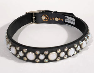 Black/Gray Crystals/White Opal Cabachon Leather Dog Collar