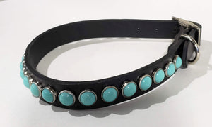 Black/Turquoise Cabachon Leather Dog Collar