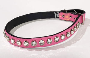 Pink/Clear Crystal Leather Dog Collar
