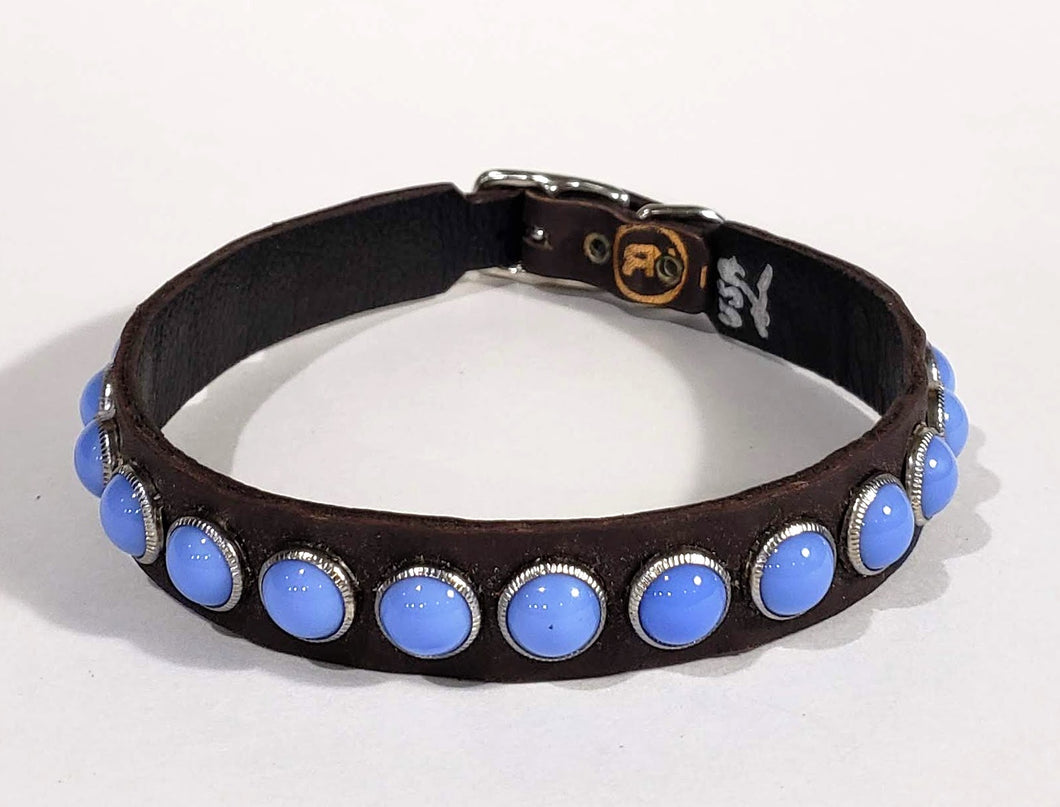 Black/Blue Moon Cabachon Leather Dog Collar