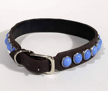 Load image into Gallery viewer, Black/Blue Moon Cabachon Leather Dog Collar