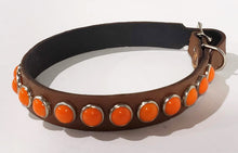 Load image into Gallery viewer, Chesnut/Retro Orange Cabachon Leather Dog Collar