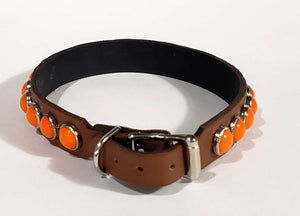 Chesnut/Retro Orange Cabachon Leather Dog Collar