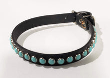 Load image into Gallery viewer, Black/Turquoise Cabachon Leather Dog Collar