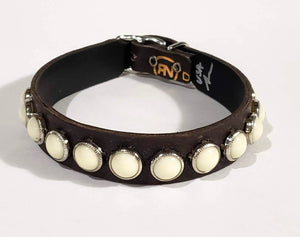 Chocolate/Ivory Cabachon Leather Dog Collar