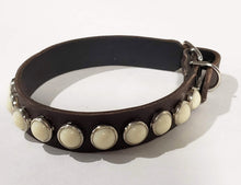 Load image into Gallery viewer, Chocolate/Ivory Cabachon Leather Dog Collar