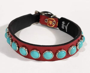 Red/Turquoise Cabachon Leather Dog Collar