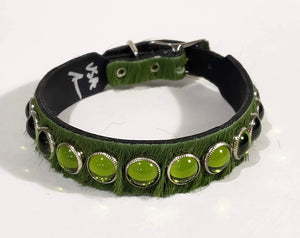Olive Green Hair/Green Cabachon Leather Dog Collar