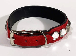 Red Hair/Clear Cabachon Leather Dog Collar