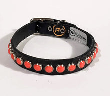 Load image into Gallery viewer, Black/Coral Cabachon Leather Dog Collar