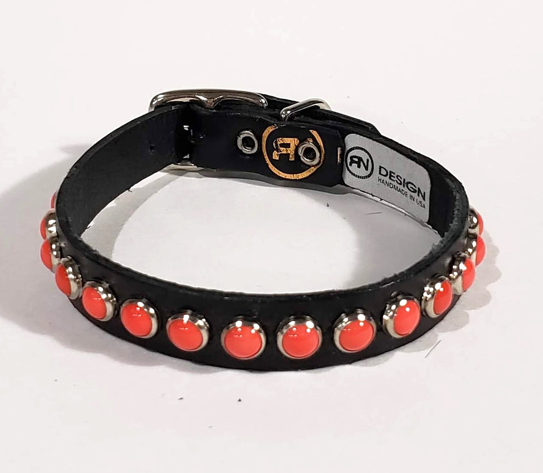 Black/Coral Cabachon Leather Dog Collar