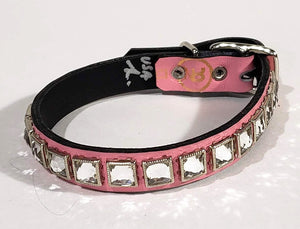Powder Pink/Clear Crystal Leather Dog Collar