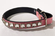Load image into Gallery viewer, Powder Pink/Clear Crystal Leather Dog Collar