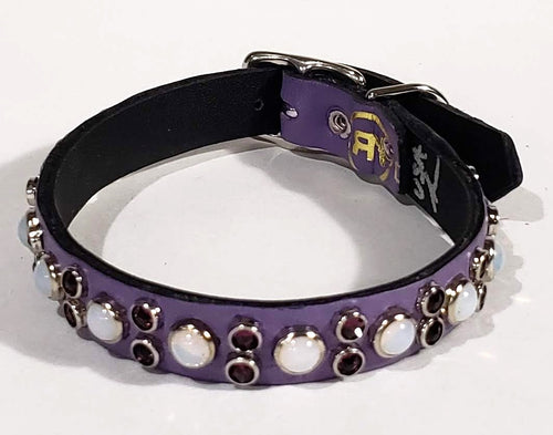 Lavender/Purple Crystals/White Opal Cabachon Leather Dog Collar