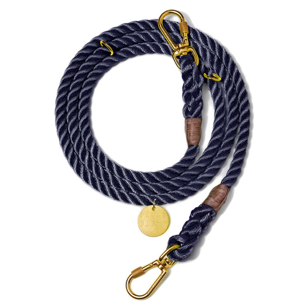 Navy Rope Dog Leash, Adjustable