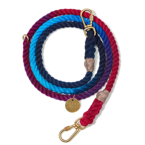 Dark Multi Ombre Rope Dog Leash, Adjustable