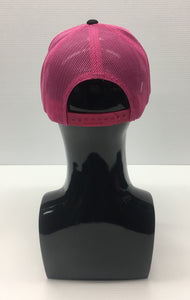 PACIFIC HEADWEAR: 3D PUFF LETTERING LADIES TRUCKER SNAPBACK BLACK/PINK