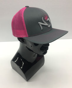 PACIFIC HEADWEAR: 3D PUFF LETTERING LADIES TRUCKER SNAPBACK GRAPHITE/PINK