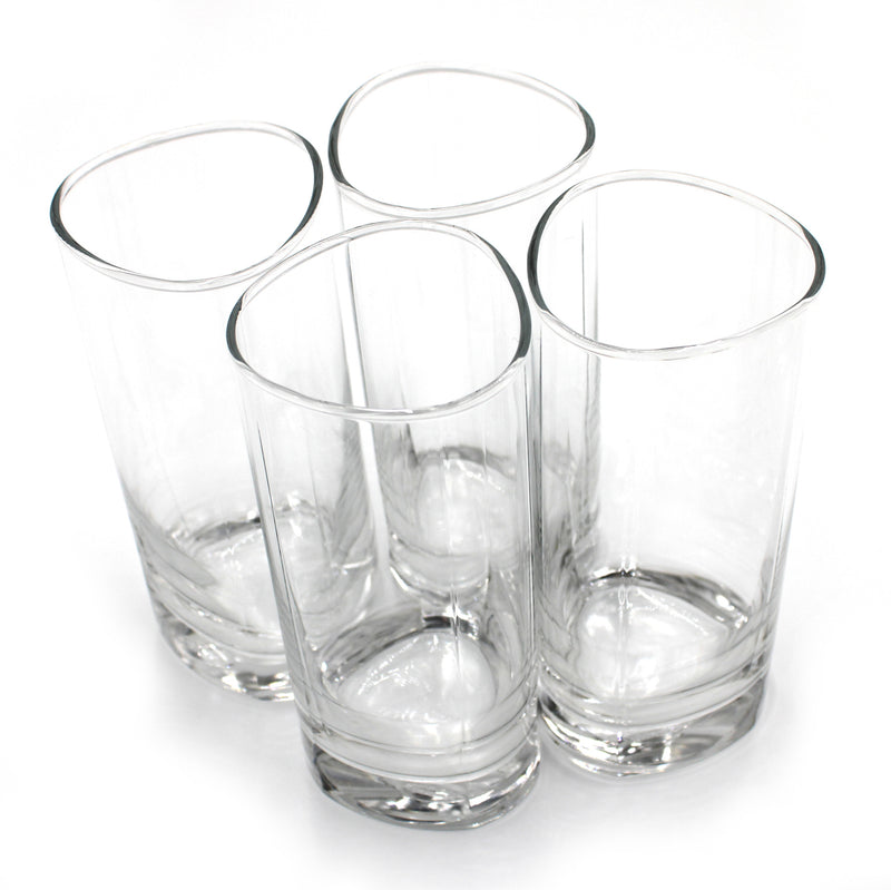 Crystal Clear Glasses with Sturdy base and Straight Edges 13.25 oz Set of 4