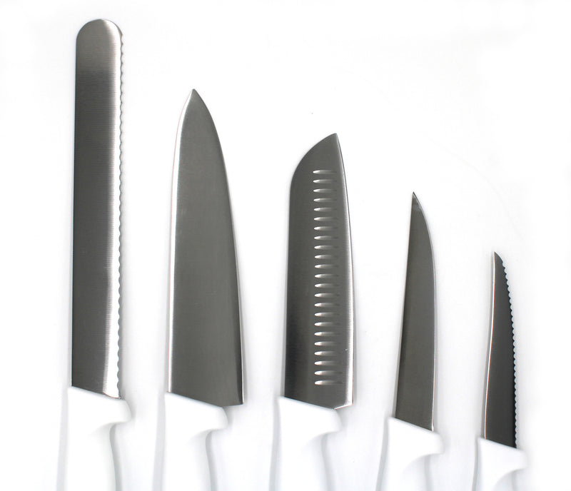 Set of 5 pcs White Knives with Ergonomic Polypropylene Handle Professional-grade