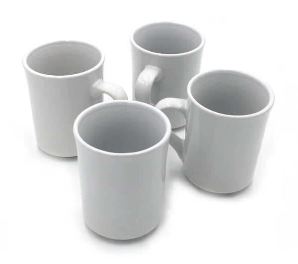8 oz. White Rolled Edge Stoneware Coffee/ Tea Mugs  - Set of 4