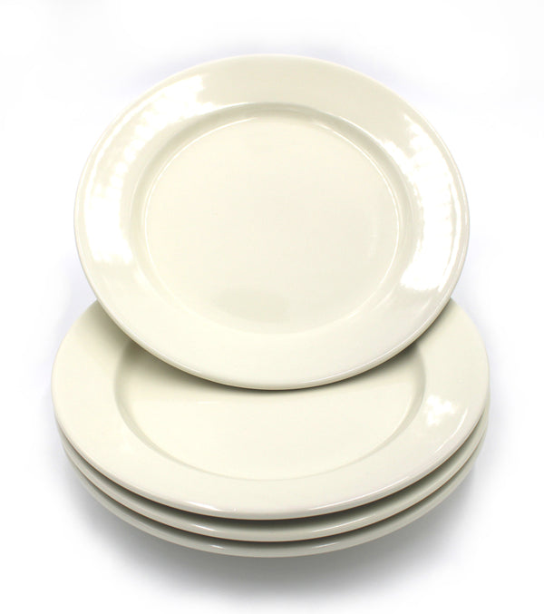 "9"" Ivory Breakfast/Lunch/Dinner Round Plate - Set of 4"