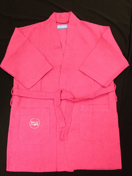 Pink Waffle Robe With Logo On Pocket