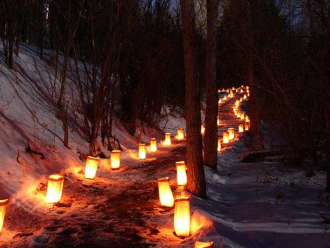Luminarias lighting a pathway