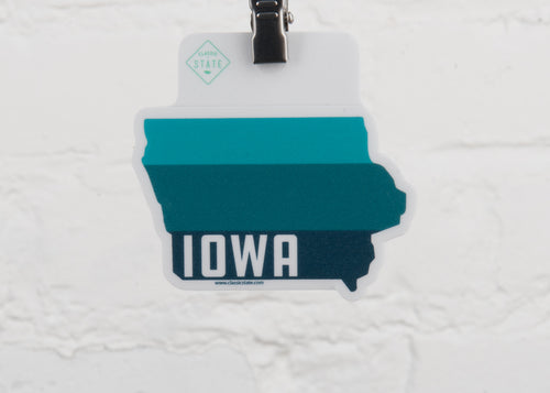 Iowa Ombre State Shape Sticker