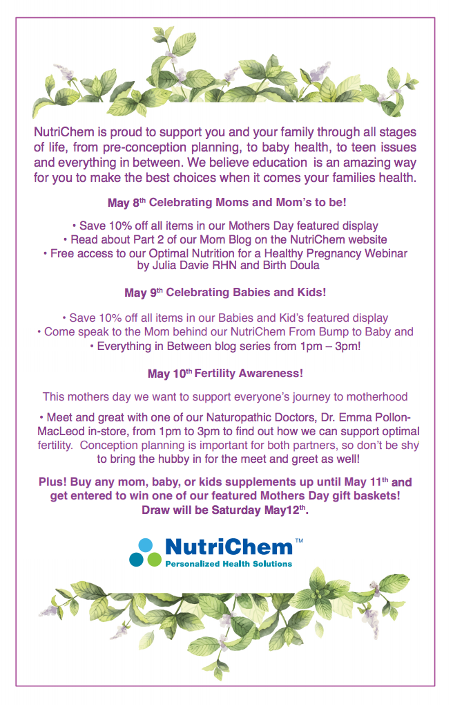 May 2018 - NutriChem's Mother's Day Events