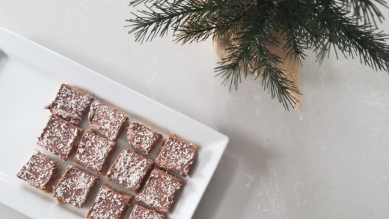 6 Ingredient No Bake Peanut Butter Snowflake Squares