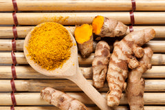 turmeric / curcumin on a bamboo placemat