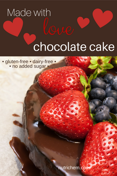 Made with love chocolate cake - a gluten-free, dairy-free, no added sugar recipe from a registered holistic nutritionist