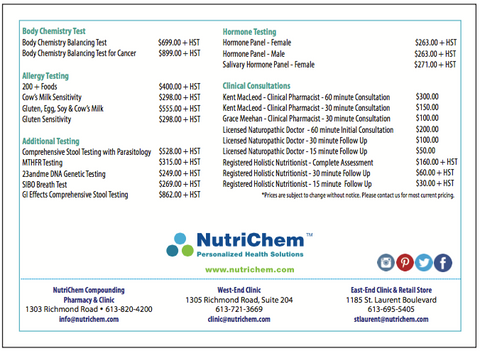 NutriChem Clinics Testing and Pricing - updated January 2017