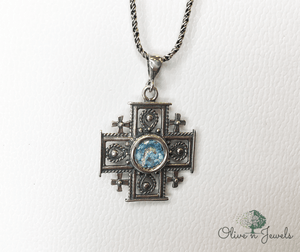 Roman Glass Jerusalem Cross Pendant