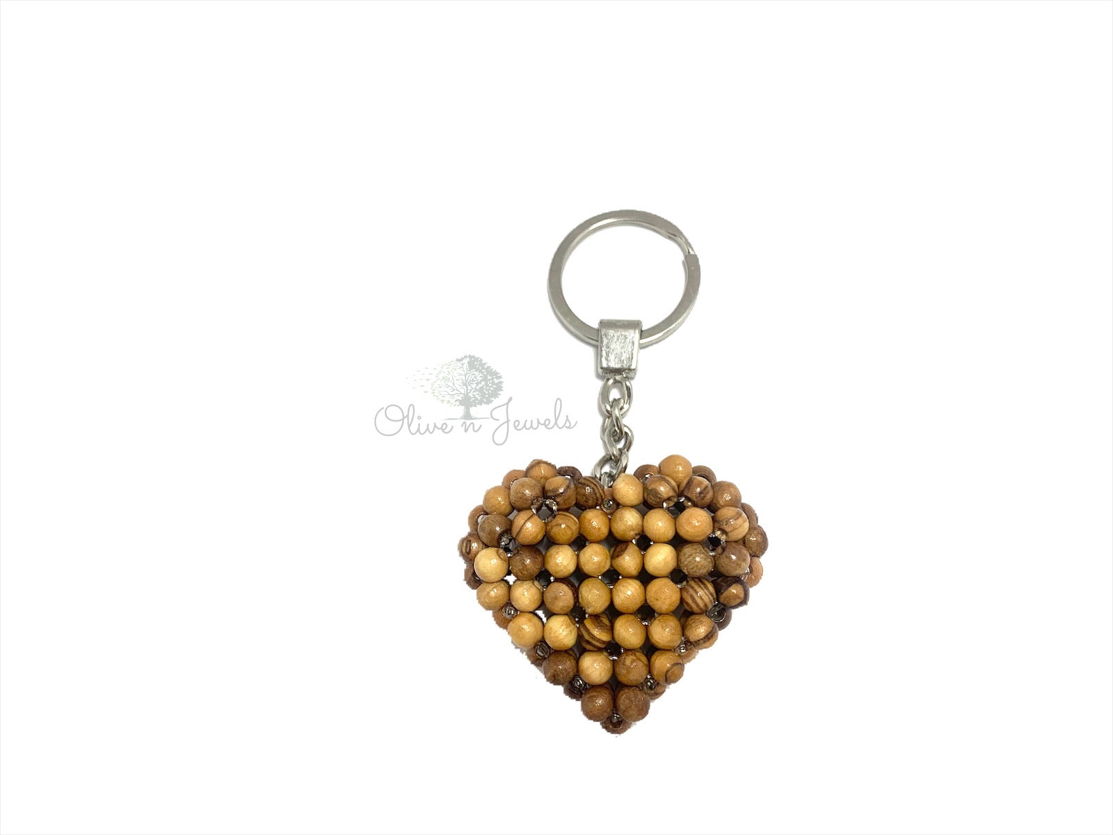 Olive Beads Heart Key Chain
