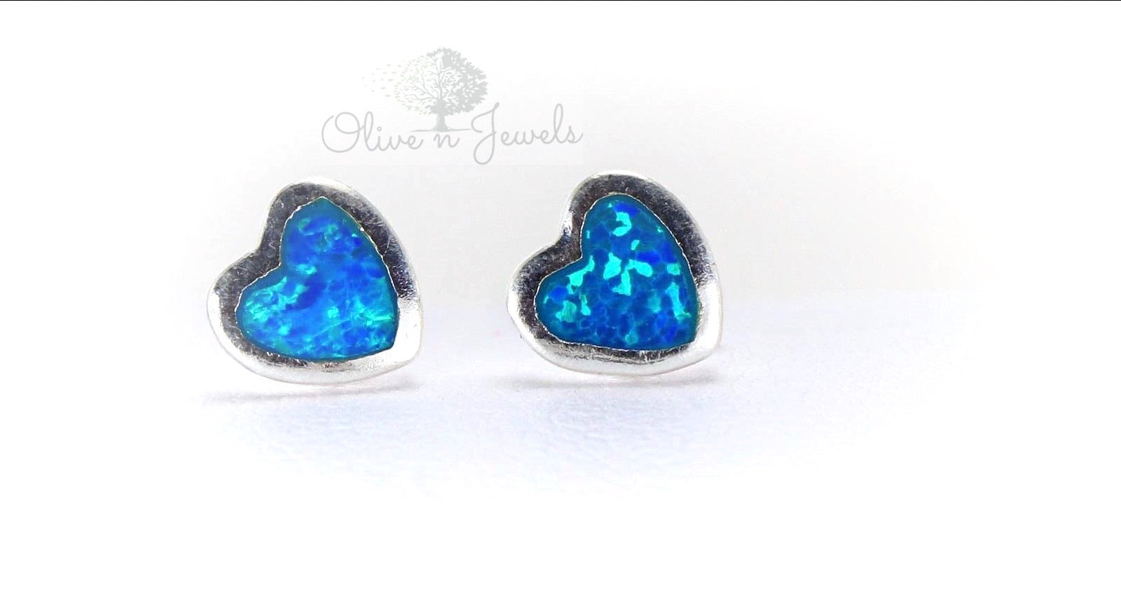 Opal Heart Silver Earrings