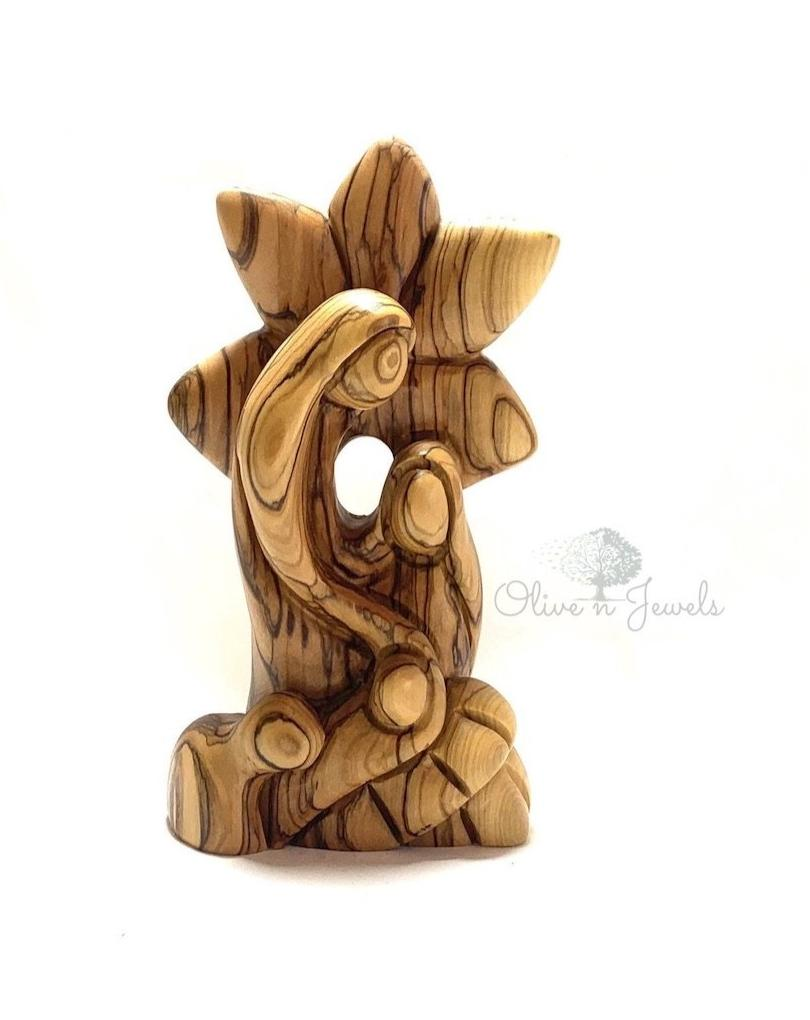 Holy Family Star Olive Wood