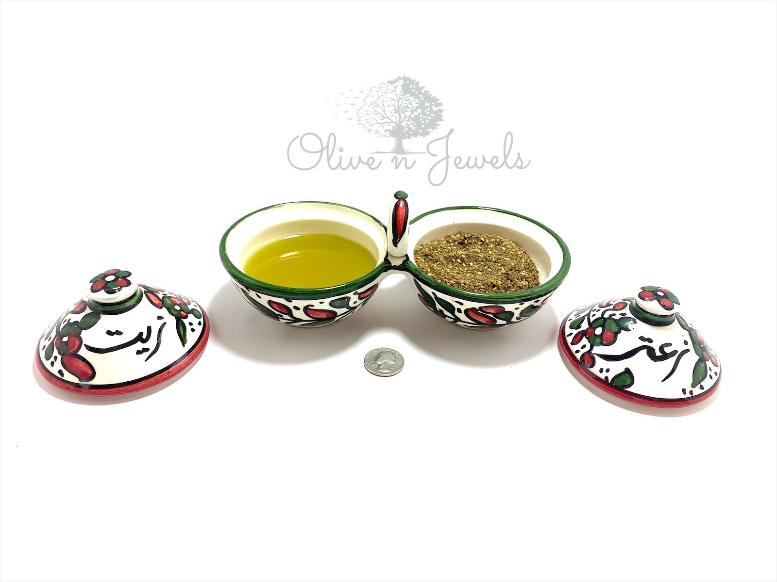 Ceramic Hand Painted Olive Oil & Zaatar