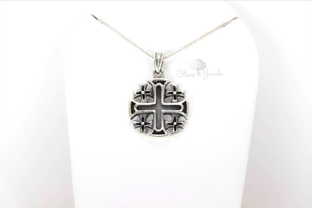 Jerusalem Oxidized Plain Silver Cross