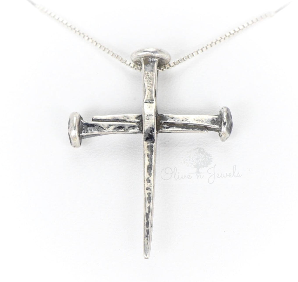 Oxidized Silver Nail Cross