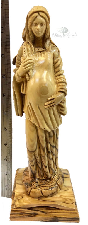 Pregnant Virgin Mary Olive Wood