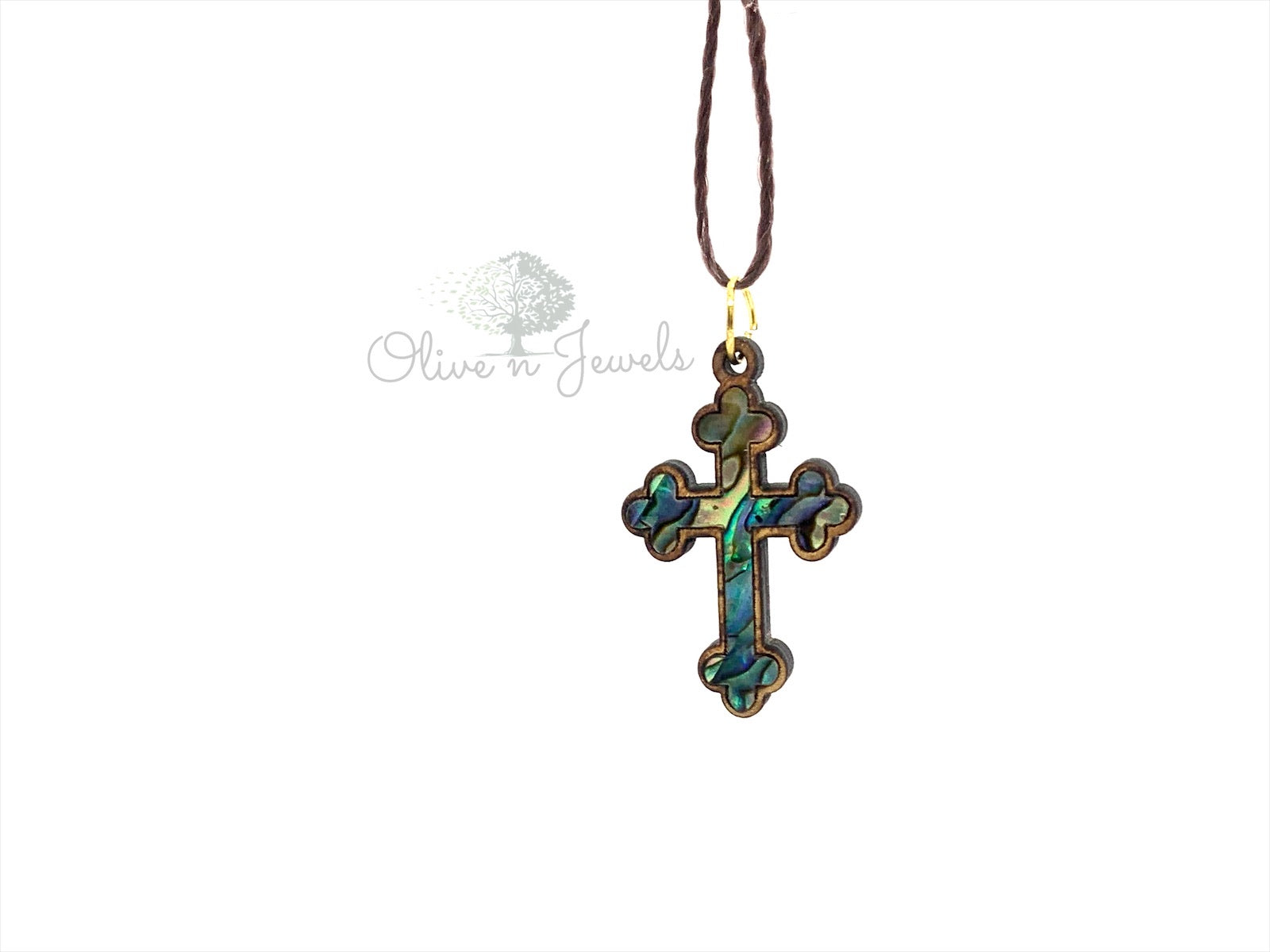 String Pearl Olive Wood Cross