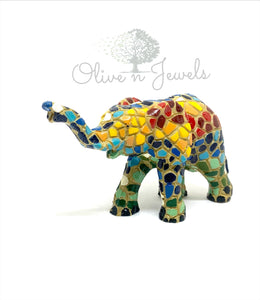 Hand Painted Mosaic Elephant