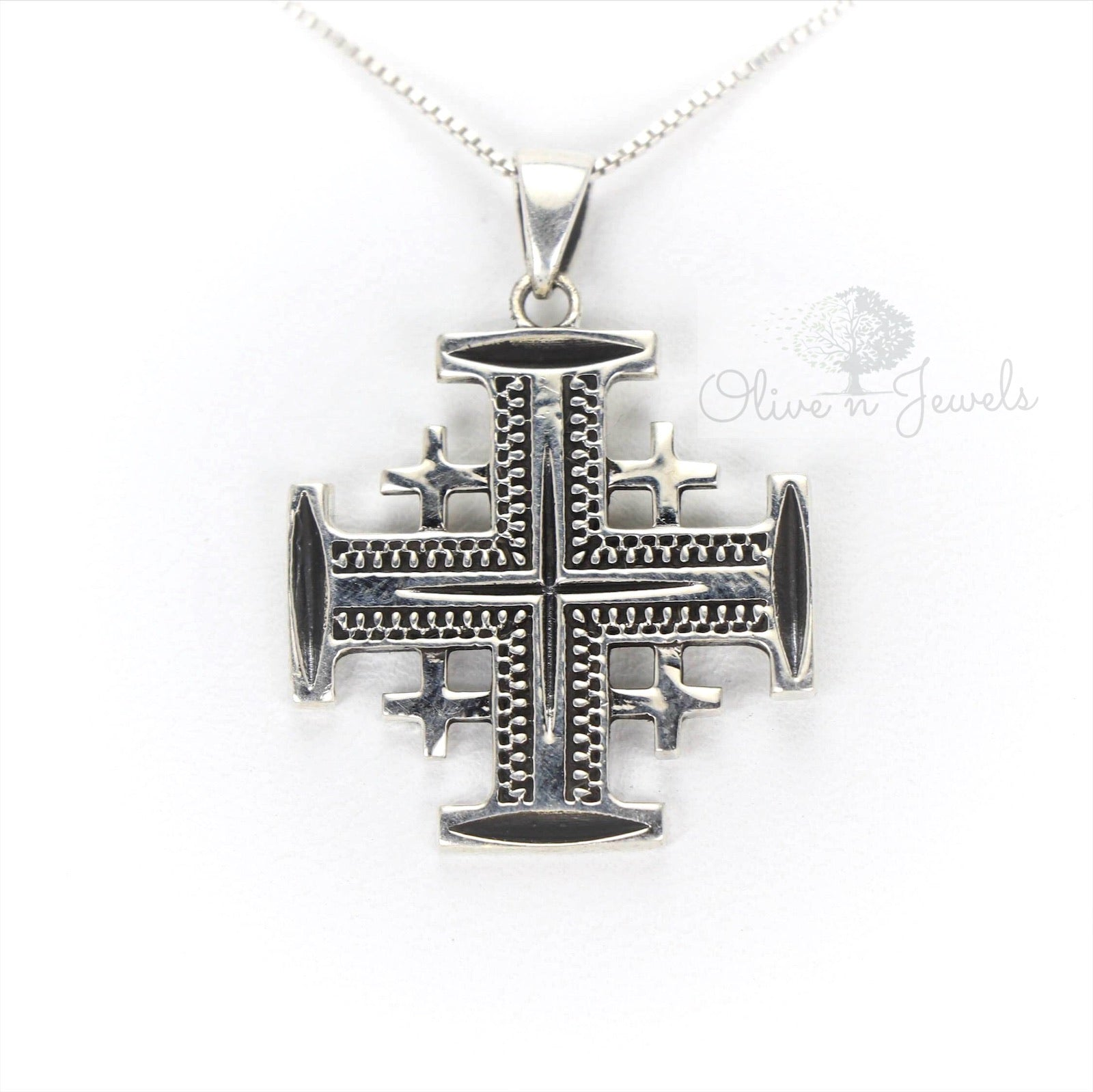 Jerusalem Cross Silver Plain Oxidized Pendant