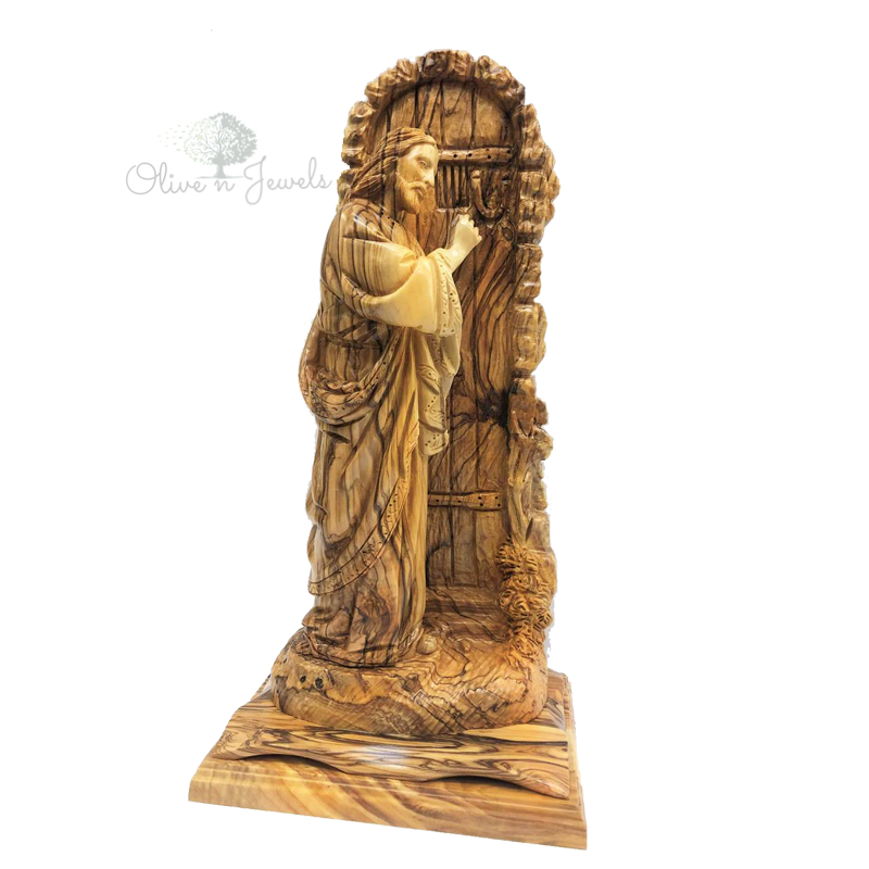 Jesus Knocking on Door Olive Wood