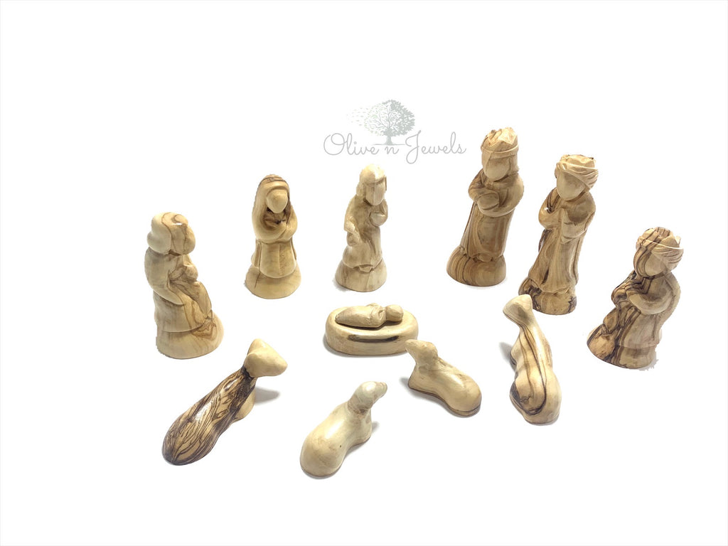 Hand Carved Faceless Nativity Scene