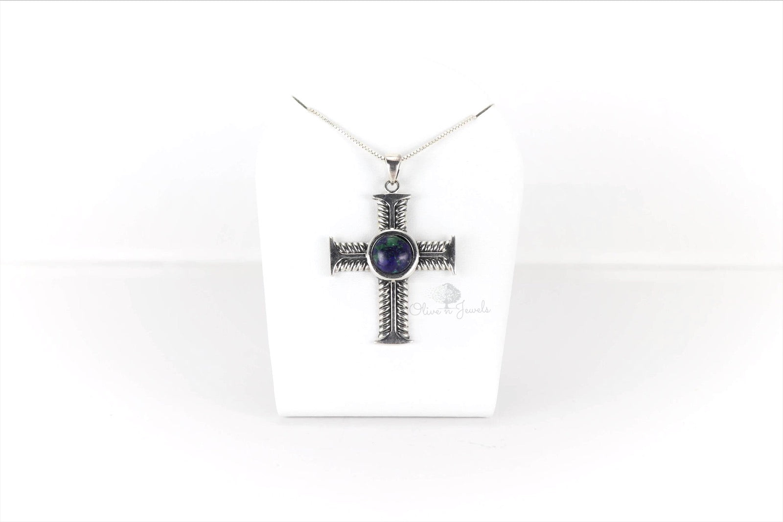 Eilat Stone Oxidized Cross Pendant