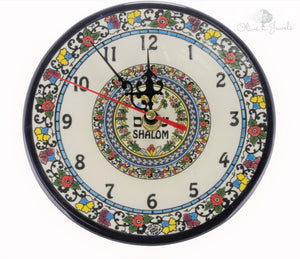Hand Painted Ceramic Shalom Clock